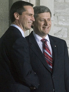 Ontario Premier Dalton McGuinty meets with Prime Minister Stephen Harper as he arrives at 24 Sussex in Ottawa on Friday, Jan. 11, 2008., for the premiers dinner meeting on the economy. (Sean Kilpatrick / THE CANADIAN PRESS)