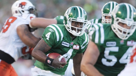 Saskatchewan Roughriders quarterback Darian Durant runs the ball in for a touchdown against the BC Lions in first half CFL action at Mosaic Stadium on Thursday, August 12, 2010, in Regina, Sask. THE CANADIAN PRESS/Troy Fleece