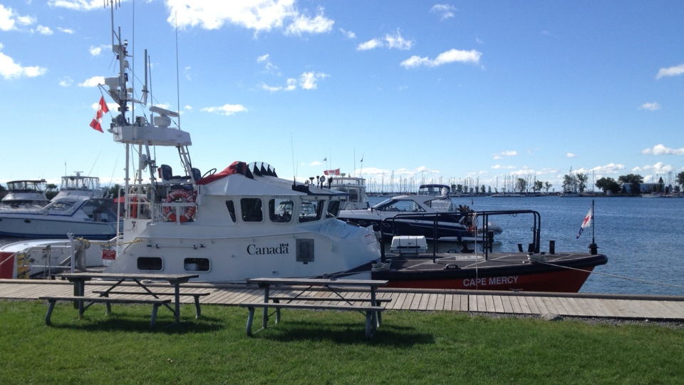 Police search for a missing Ajax man following a boating accident Sunday, Aug. 5, 2012. (Byron Auburn / CTV Toronto)