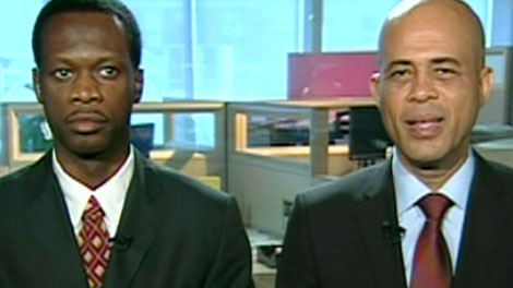 Former Fugee Pras Michel, left and Haitian presidential candidate Michel Martelly, right, appear on CTV's Canada AM on Friday, Aug. 13, 2010.
