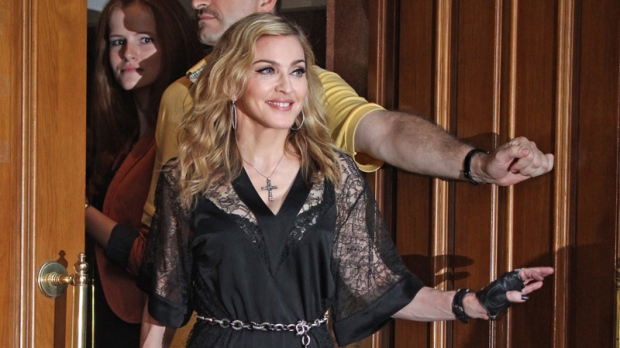 Madonna at the opening of a new fitness club in Moscow, Russia on Aug. 6, 2012.
