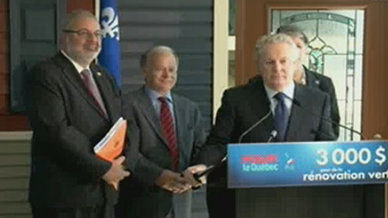 Jean Charest, along with Pierre Arcand and Raymond Bachand, announce a home renovation tax credit proposal (August 7, 2012)