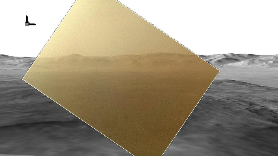 Curiosity's landscape portrait in context: This picture of the Martian landing site of NASA's Curiosity rover puts a color view obtained by the rover in the context of a computer simulation derived from images acquired from orbiting spacecraft. The view looks north, showing a distant ridge that is the north wall and rim of Gale Crater. (NASA / JPL-Caltech / MSSS)