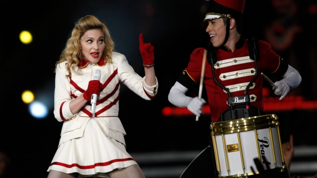 U.S. singer Madonna performs during her concert at the Olympic Stadium in Kiev, Ukraine, Saturday, A