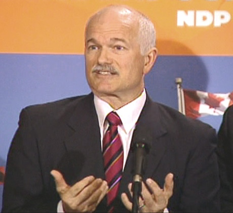 NDP Leader Jack Layton speaks to reporters on Sunday, Jan. 13, 2008.