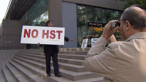 Fight HST campaigner Eddie Petrossian stands outside B.C. Supreme Court in Vancouver. Aug. 16, 2010. (CTV)