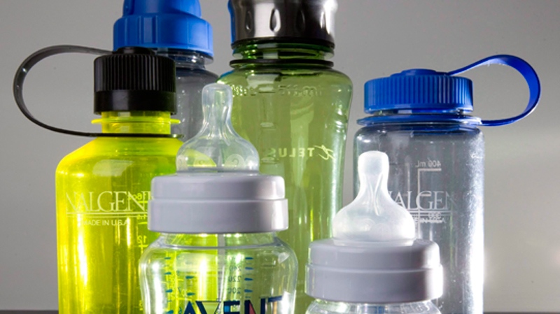 A collection of sport and baby bottles potentially containing compound bisphenol A is seen in North Vancouver, B.C. on April 18, 2008. (Jonathan Hayward / THE CANADIAN PRESS)