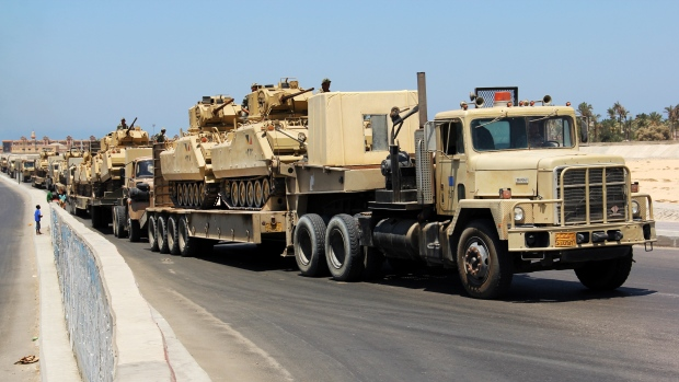 Egyptian military tanks in Egypt's northern Sinai Peninsula