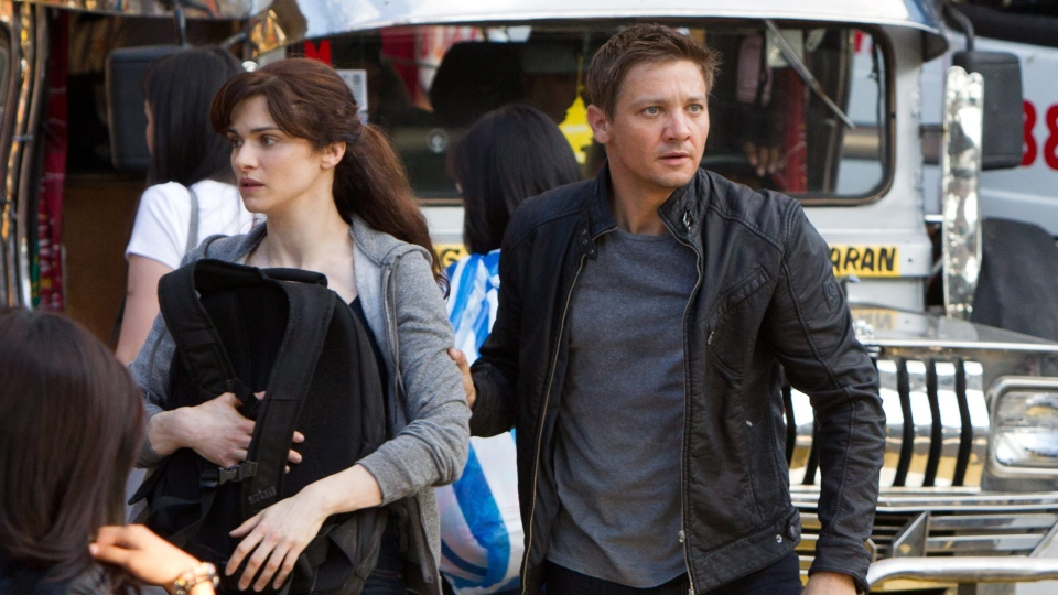 Rachel Weisz as Dr. Marta Shearing, left, and Jeremy Renner as Aaron Cross in Universal Pictures Canada's 'The Bourne Legacy.'