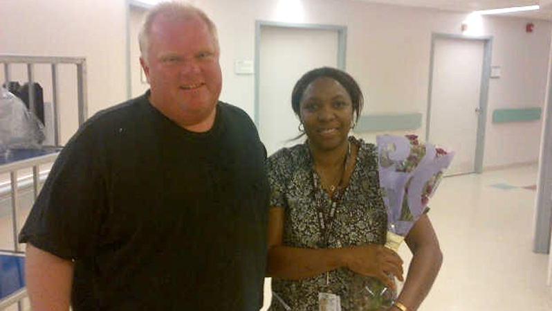 Toronto Mayor Rob Ford is shown at Humber River Hospital after being released on Thursday, Aug. 9, 2012. (Photo courtesy: Isaac Ransom)