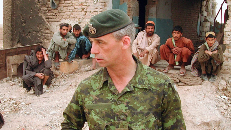 Lt.-Col. Pat Stogran, then commander of Canadian Forces in Afghanistan, is shown near Kandahar in April 2002. (Stephen Thorne / THE CANADIAN PRESS)