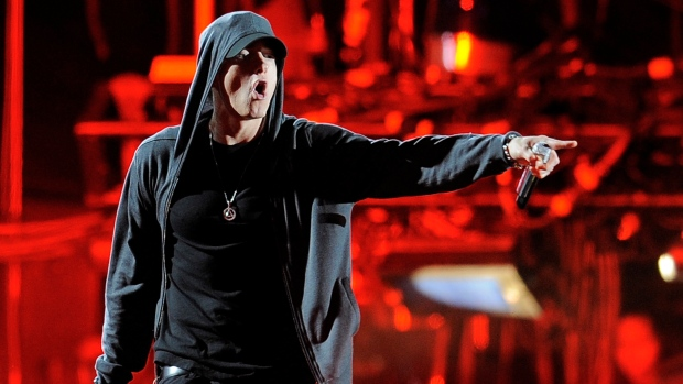 Eminem performs