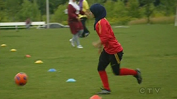 Players in the Muslim Soccer League are allowed to wear hijabs. (August 17, 2010)