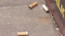 Cigarette butts can be seen strewn throughout Winnipeg streets.