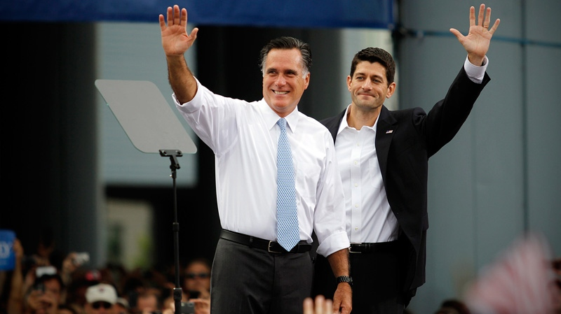 Republican presidential candidate, former Massachusetts Gov. Mitt Romney, left, introduces his vice presidential running mate, Wisconsin Rep. Paul Ryan  in Norfolk, Va., on Saturday, Aug. 11, 2012. (AP / Virginian-Pilot, Amanda Lucier)