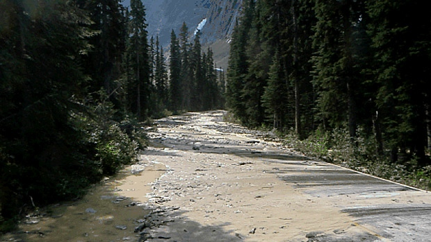 An icefall has closed Edith Cavell Road in Jasper National Park.