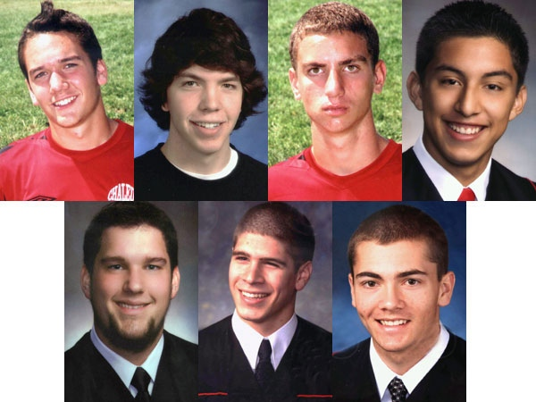 The Bathurst, N.B. crash victims are seen in these undated handout photos. Left to right, top to bottom, Nicholas Kelly, Codey Branch, Nickolas Quinn, Javier Acevedo, Daniel Hains, Justin Cormier, Nathan Cleland. (Elhatton Funeral Home / THE CANADIAN PRESS)