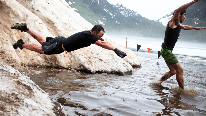 Participates dive into ice-cold water during the 'Tough Mudder' event in Vancouver. The event was held from Saturday, June 23 to Sunday June 24, 2012. (www.toughmudder.com)