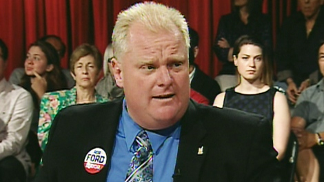 Mayoral candidate Rob Ford speaks at a debate on Tuesday, Aug. 17, 2010.
