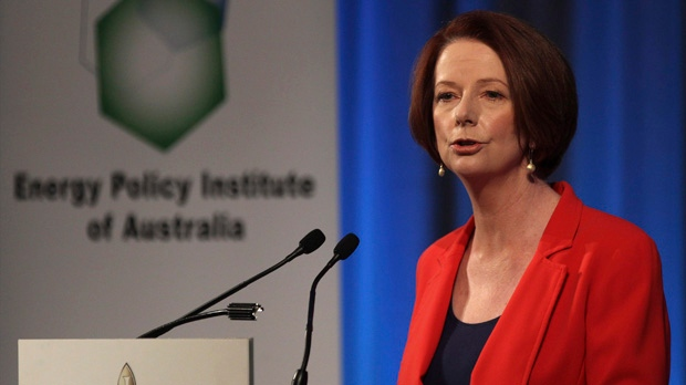 Australian Prime Minister Julia Gillard speaks to the Energy Policy Institute of Australia during a luncheon in Sydney, Australia, Tuesday, Aug. 7, 2012. (AP / Rob Griffith)