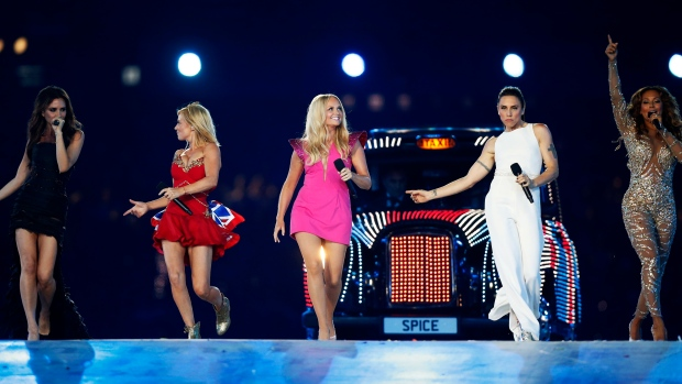'The Spice Girls' perform during the Closing Ceremony at the London 2012 Games