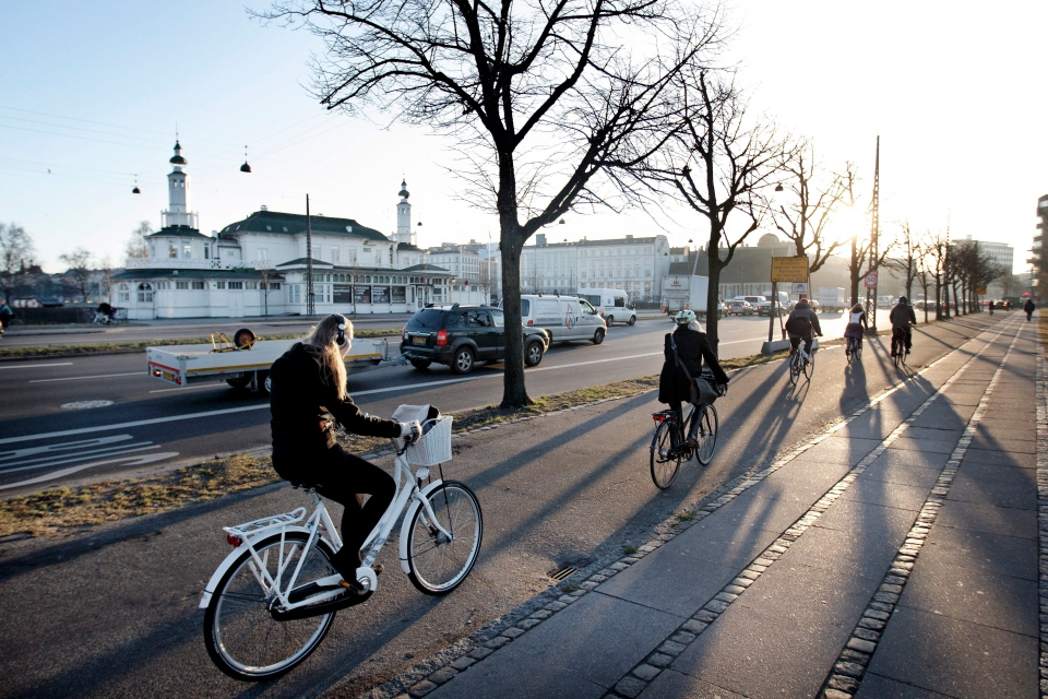 Cyclists make their along a cycle path in the center of Copenhagen, Denmark, Friday, March 2, 2012. (AP / Polfoto, Jens Dresling)