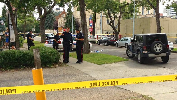 Police block off a section of 113 St. at 102 Ave. on Monday, August 13. Courtesy: J. Meier