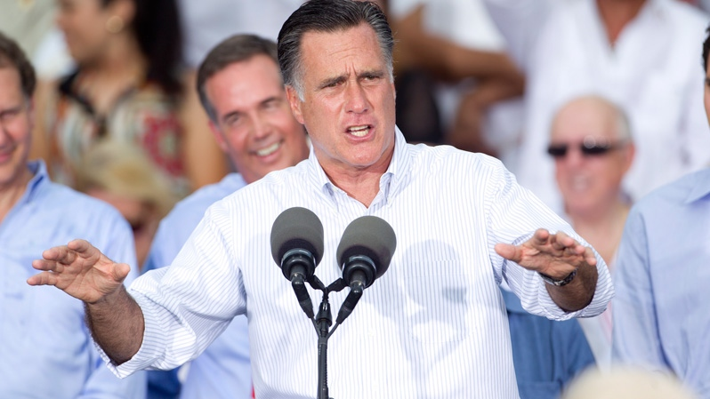 Republican presidential candidate, former Massachusetts Gov. Mitt Romney addresses supporters during a campaign stop in Miami on Monday, Aug. 13, 2012. (AP / J Pat Carter)