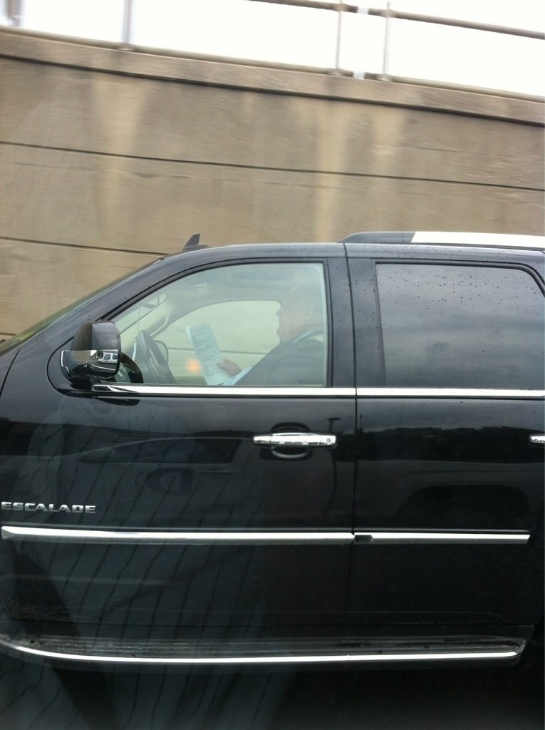 Toronto Mayor Rob Ford says he was 'probably' reading while driving on the Gardiner Expressway on Tuesday, Aug. 14, 2012. (Photo sent to Twitter by user @ryanhaughton)