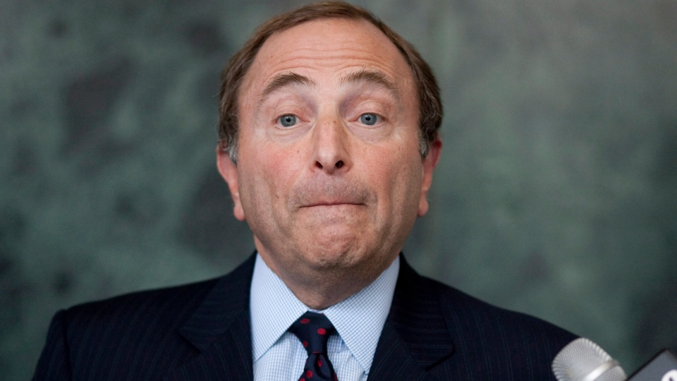 NHL Commissioner Gary Bettman speaks to the press following collective bargaining talks in Toronto on Wednesday, Aug. 15, 2012.  (Chris Young / THE CANADIAN PRESS)