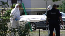 Investigators carry the body of a woman found in a Vanier parking lot, August 20, 2010.