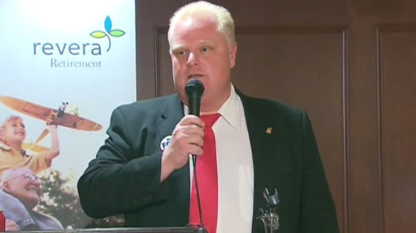 Coun. Rob Ford addresses a senior's group in North York on Friday, Aug. 20, 2010.