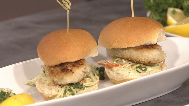 Tasty oyster sliders prepared by chefs from Joe Fortes in Vancouver, B.C. Aug. 16, 2012. (CTV)