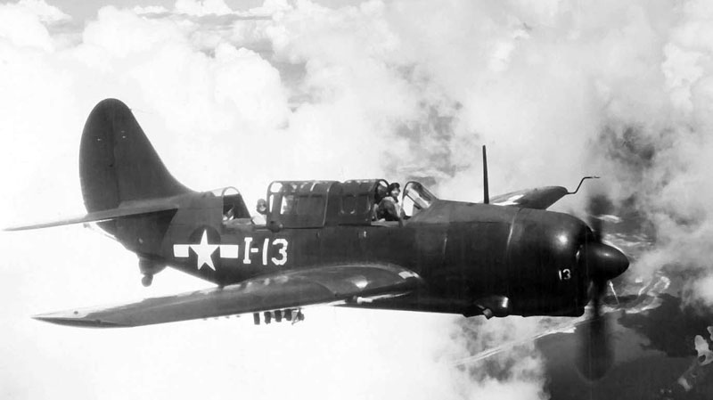 This undated image provided by the U.S. Navy, National Naval Aviation Museum shows a SB2C-4 Helldiver dive bomber in flight. (AP / U.S. Navy, National Naval Aviation Museum)