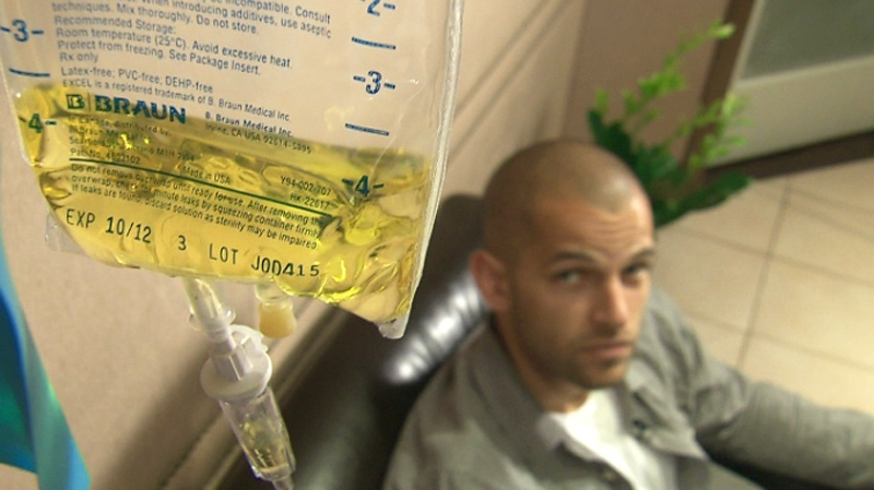 Matthew George has a cocktail of vitamins and minerals delivered intravenously at a clinic in Toronto in this undated photo.