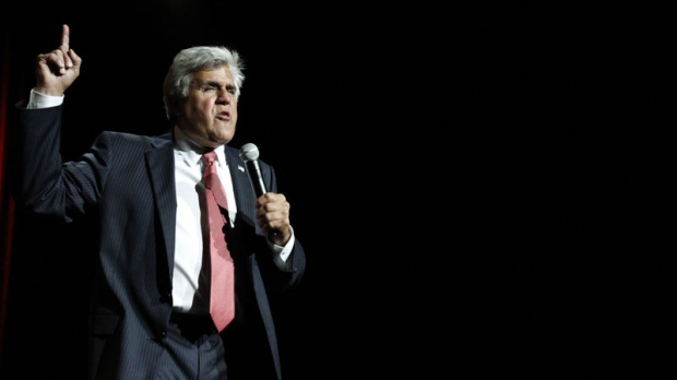 Entertainer Jay Leno performs his standup comedy act using topical issues at the Beau Rivage Resort & Casino in Biloxi, Miss., Saturday, Aug. 21, 2010. The one-show only concert was a benefit for Mississippi oil spill victims. (AP Photo/Rogelio V. Solis)