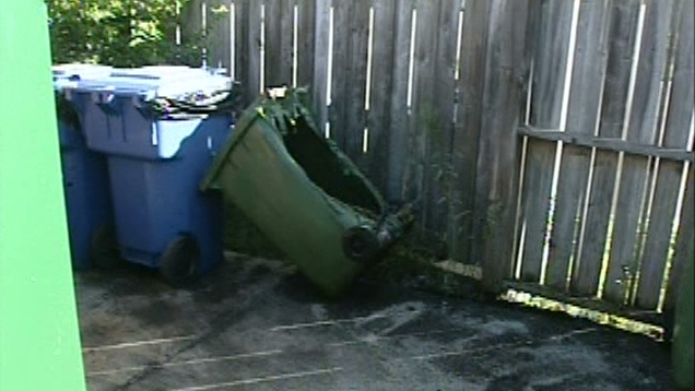 A singed garbage can is seen following an overnight fire in Kitchener, Ont. on Friday, Aug. 17, 2012.