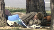 A stretch of green space in Victoria, B.C., has been turned into a homeless campsite that attracts drug use and crime. August 23, 2010.