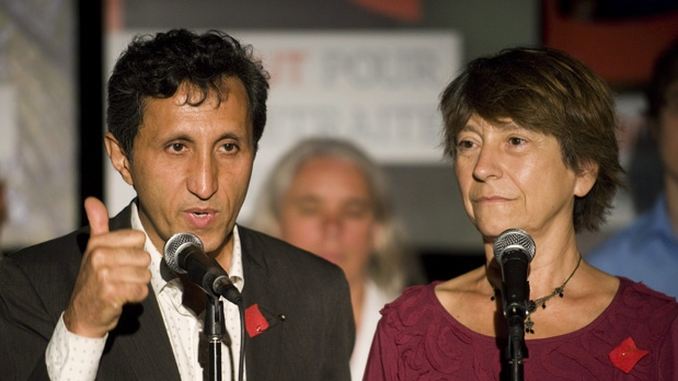 Québec solidaire joint leaders Amir Khadir and Francoise David speak during the launch of their provincial election campaign in Montreal, Wednesday, August 1, 2012. (Graham Hughes / The Canadian Press)