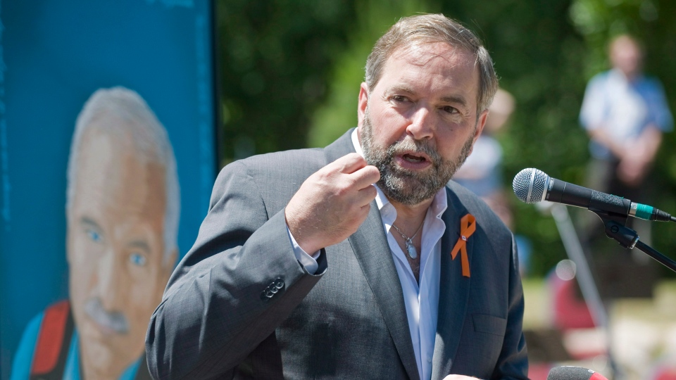 NDP leader Thomas Mulcair speaks at the official opening of a park named in honour of former leader Jack Layton in the town of Hudson, Que., Saturday, June 23, 2012. (Graham Hughes / THE CANADIAN PRESS)
