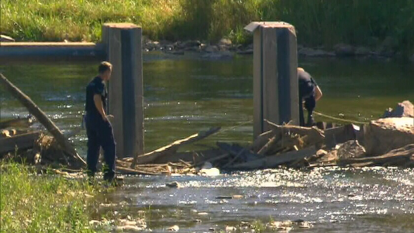 Peel Regional Police are shown searching the banks of the Credit River in Mississauga on Saturday, Aug. 18, 2012.