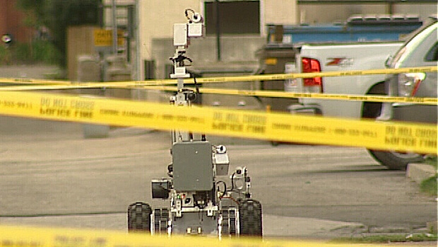 A police robot and the Edmonton police bomb squad worked to detonate a homemade pipe bomb found in the Garneau area Saturday night.
