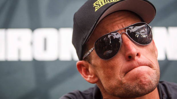 Lance Armstrong at a news conference after the Memorial Hermann Ironman 70.3 Texas triathlon in Galveston, Texas, April 1, 2012. (Houston Chronicle / Michael Paulsen)