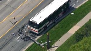 Crane collapse Toronto TTC bus trapped