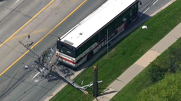Hydro wires lie over a TTC bus after a crane collapsed at west end construction site as seen in this aerial view from the CTV News helicopter over the scene, Monday, Aug. 20, 2012.