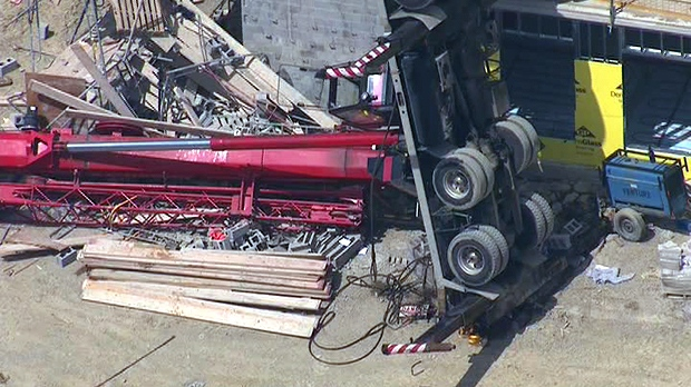 Collapsed crane is visible from the CTV News helicopter at the Etobicoke construction site, Monday, Aug. 20, 2012.