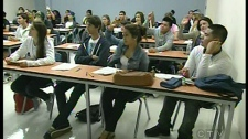 Students at Dawson college are enjoying classes inside the former home of the Canadiens. (August 25, 2010)