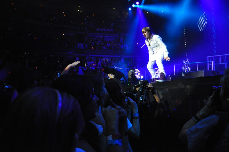 Justin Bieber performs for thousands of screaming fans at Scotiabank Place in Ottawa, Tuesday, Aug. 24, 2010.