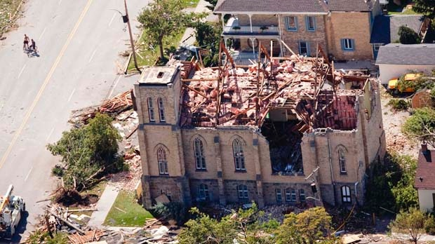 A church in Goderich, Ont., sits in ruins Monday, Aug. 22, 2011, after a tornado ripped through the town a day earlier, killing one person. (The Canadian Press/Geoff Robins)