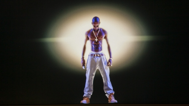 A video image of the Tupac Shakur hologram at the Subtractive Studio in Santa Monica, Calif.